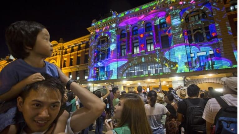 Crowds enjoy projections at White Night Melbourne 2015.