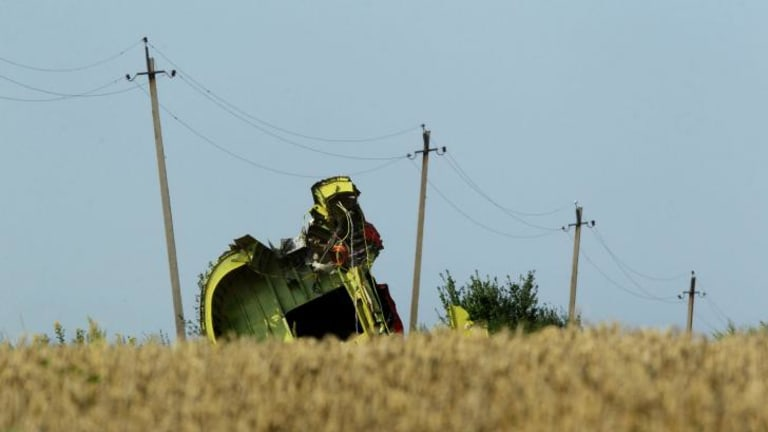The rear fuselage of flight MH17 at the crash site.