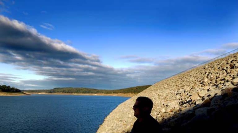 Geoff Connor looks over the Cardinia Reservoir near Narre Warren. <i>Picture: Simon O'Dwyer</i>