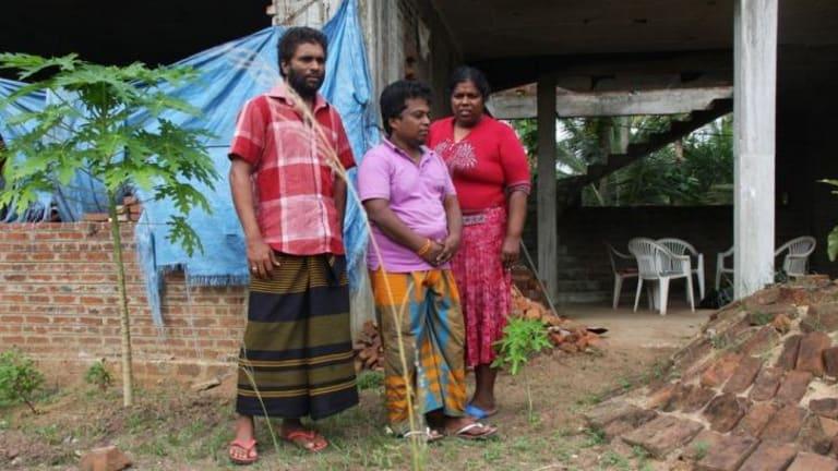 Fear for their lives ... from left, Janaka Gayan Athukorala, 40, Hemantha Kuruppu, 41, and Sujeewa Saparamadu, 42. Part of group of 41 asylum seekers returned to Sri Lanka.