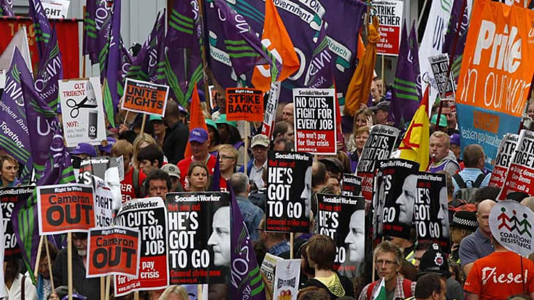 Having their say ... 35,000 people took to the streets to demonstrate against government budget cuts.