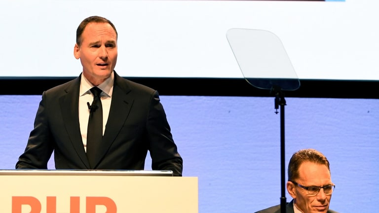 BHP Chairman Ken MacKenzie (left) and chief executive Andrew Mackenzie faced pressure at the company's AGM.