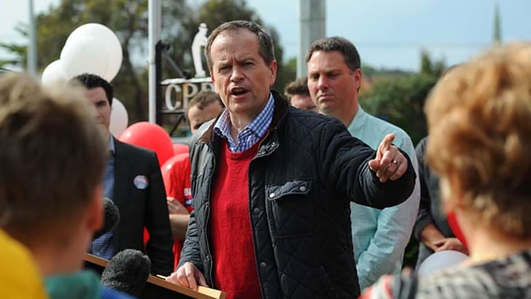 Opposition spokesman on education and workplace relations Bill Shorten campaigning for the leadership of the Labor Party at the Clifton Park Bowling Club in Victoria.