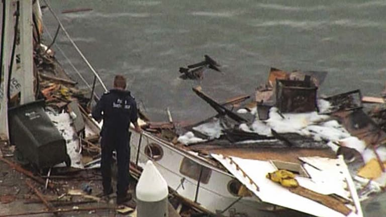 Public interest? ... an image of the 2008 incident in which a man lost both his parents when his boat exploded on the Yarra River. Despite the tragedy occurring in public, Channel Ten was reprimanded by the Australian Communications and Media Authority for airing footage of the man grieving shortly after the accident took place.