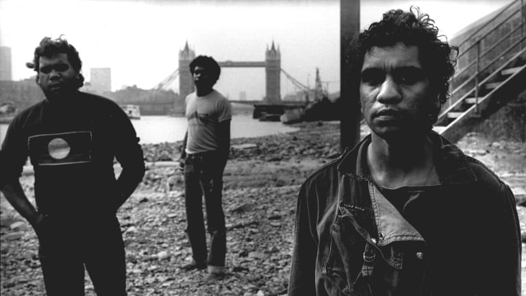 No Fixed Address in London, 1984. From left, Nicky Moffat, Ricky Harrison and Bart Willoughby.