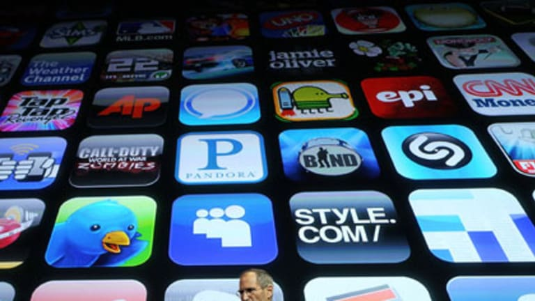 Apple chief Steve Jobs explains the iPhone 4.0 operating system.