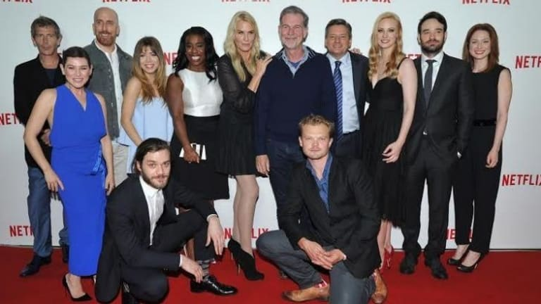 Red carpet launch: Netflix content chief Ted Sarandos (tenth from left) with the stars of Netflix's original series.
