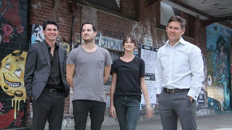 WA Greens Senator Scott Ludlam, Spacemarket founders Nic Brundson and Beth George and Fremantle Mayor Brad Pettitt.