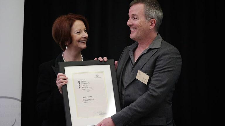 On the brink ... Luke Davies with prime minister Julia Gillard.
