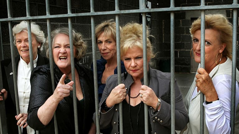 Cast from left: Fiona Spence, Val Lehman, Judith McGrath, Colette Mann and Jane Clifton.