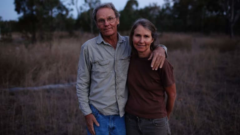 """Part of the flock … followers Angela Griffiths and her partner Robert, told by Miller to """"restore Eden""""."""