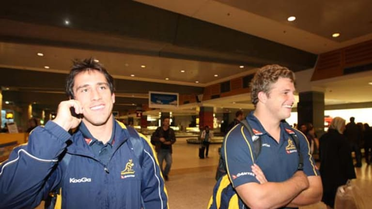 The future ... Ben Daley and James Slipper arrive in Sydney yesterday after playing in the Wallabies' fighting win over England in Perth.