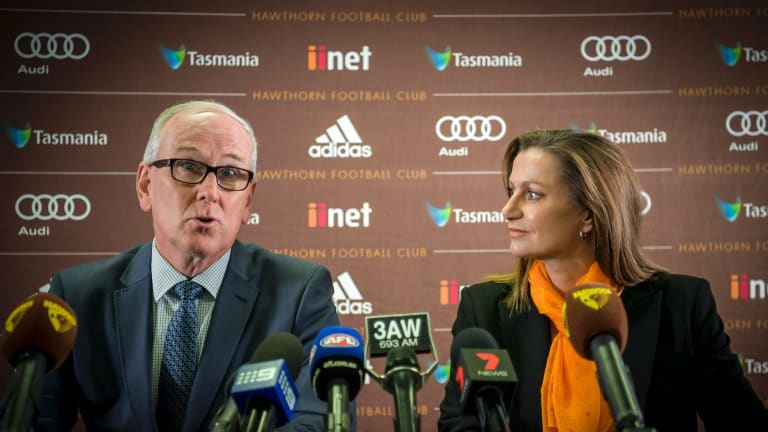 Hawthorn president Richard Garvey at the appointment of now-sacked CEO Tracey Gaudry.