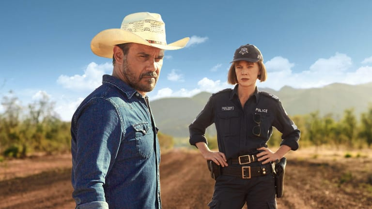 Aaron Pedersen and Judy Davis in Mystery Road.