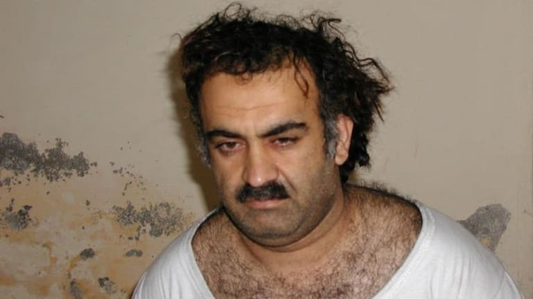 Aafia Siddiqui's old boss ... Khalid Shaikh Mohammed, the alleged September 11 mastermind, is seen shortly after his capture during a raid in Pakistan in 2003.