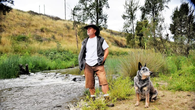 """Oaks Estate unit dwellers, Karl Steiner, 50, and his dog, Sheba, 6, walk Oaks Estate river corridor heritage trail every day. Mr Steiner said it made a massive contribution to his quality of life. """"It's a big reason why I stay here,"""" he said. Picture David Ellery."""