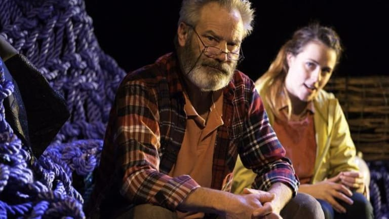 Fishing tale: Billy Grogan (Ashlea Pyke) goes out to find marlin with her crusty old grandad, Thomas (Christopher Bunworth).