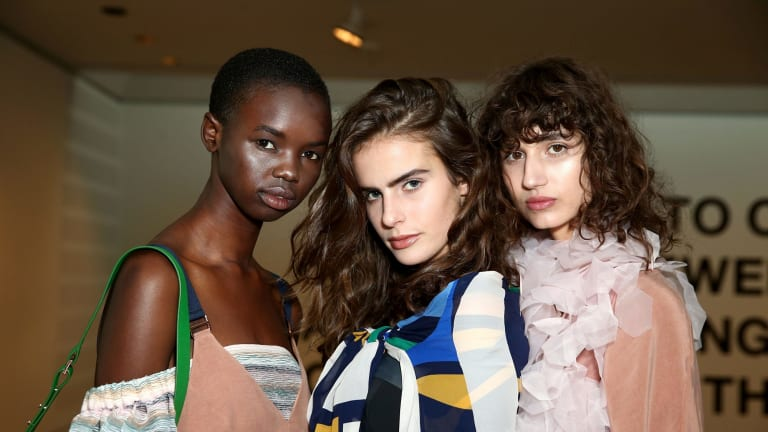 Models pose backstage ahead of the Ginger & Smart show held at the Art Gallery of NSW during Fashion Week Australia.