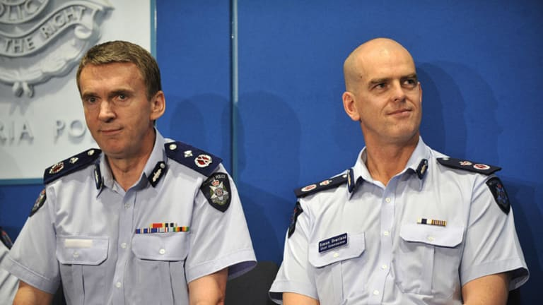 Sir Ken Jones, left, with ousted Chief Commissioner Simon Overland.