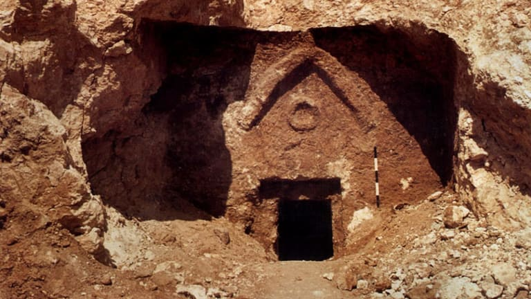 The entrance to a burial cave in southern Jerusalem, which a 2007 documentary by James Cameron claimed was the lost tomb of Christ.
