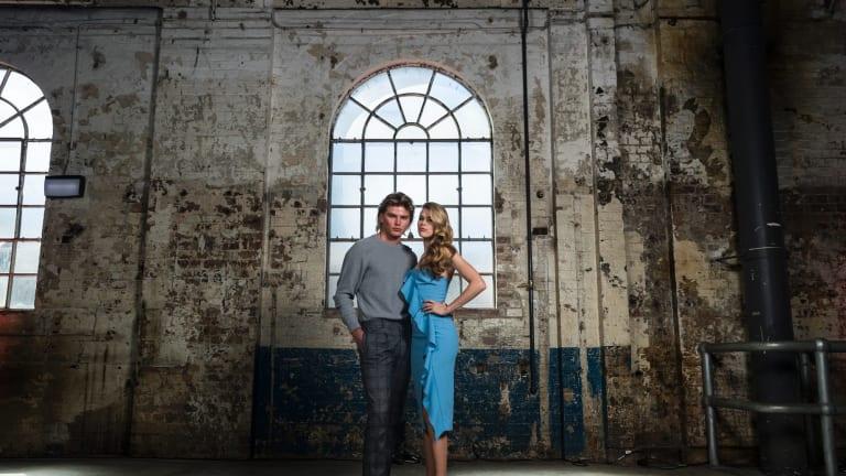 David Jones ambassador Victoria Lee and model Jordan Barrett ahead of the store's autumn-winter launch on Wednesday.