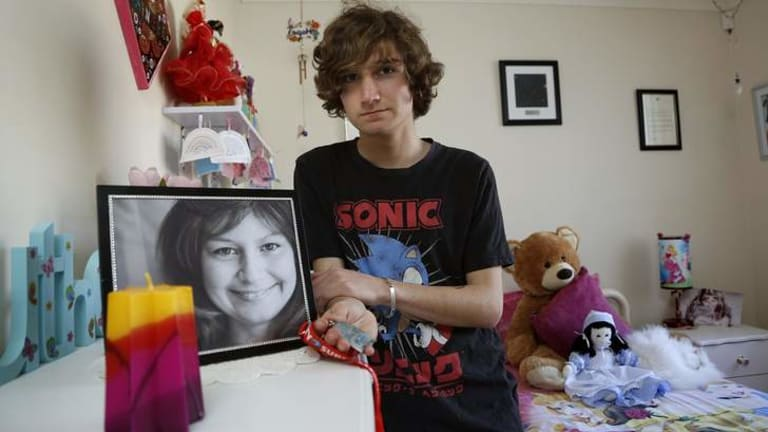 Jarrett Anthoney in the bedroom of his sister Dainere, who died in June. Jarrett raised almost $50,000 for cancer research.