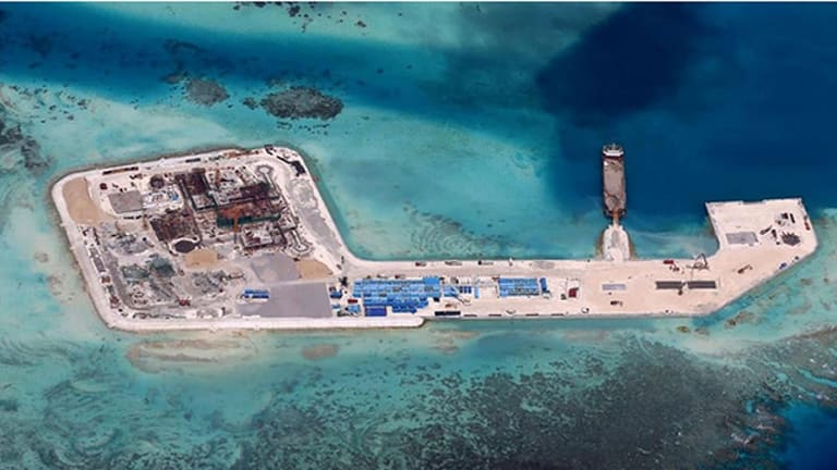 Controversial Chinese development at Hughes Reef in the Union Banks, located in the northern Spratly Islands.