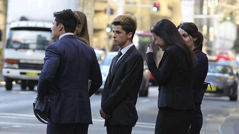 Jamie Jackson Reed leaves Downing Centre Courts in Sydney.