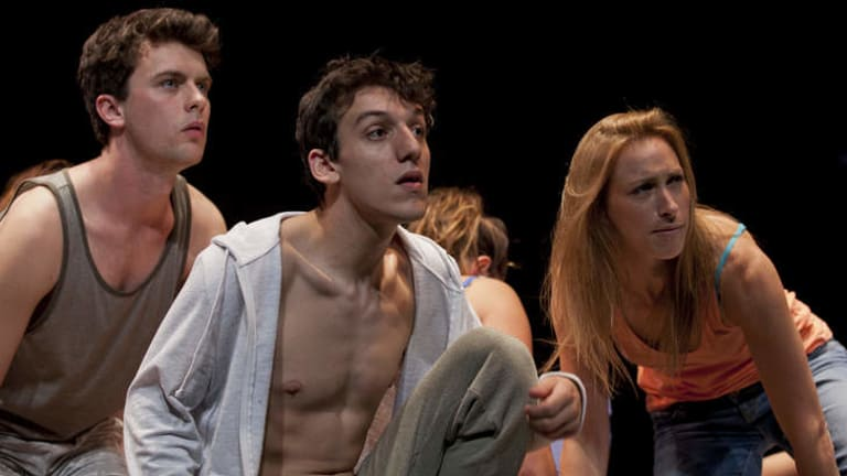 Riveting: from left, Sam Marques, Paul Musemeci and Kate Williams in ATYP's Voices Project. Photo: Gez Xavier Mansfield