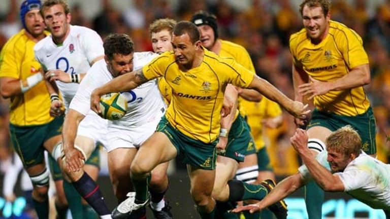 Backline blitz . . .  Quade Cooper was the difference between victory and defeat for the Wallabies.