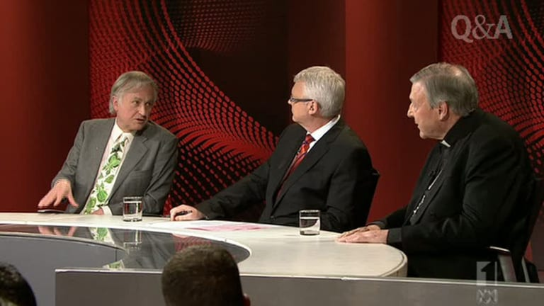 Richard Dawkins, left, with Q&A hosT Tony Jones and George Pell.