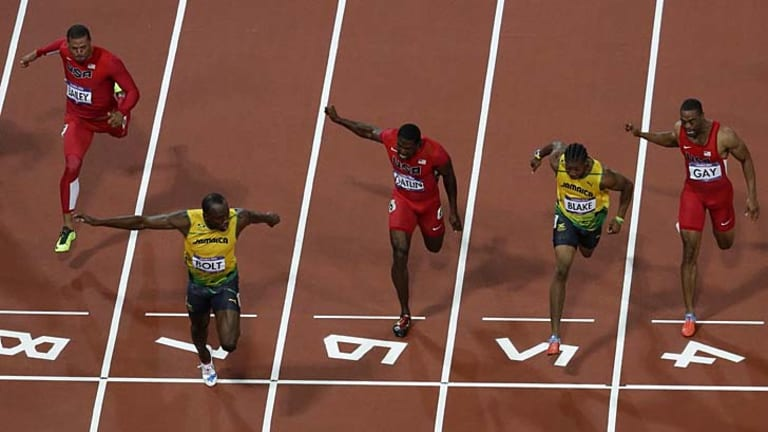 First over the line ... Usain Bolt.
