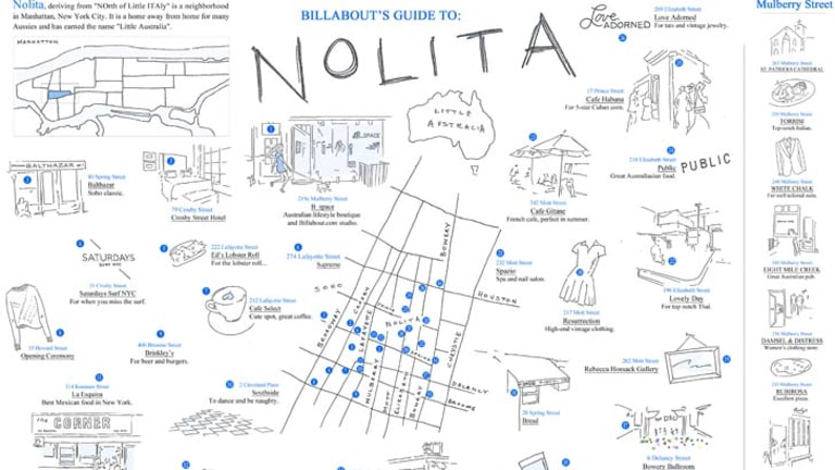 Map of Nolita, designed by B_Space for Billabout. Little Oz, Victoria Wellman