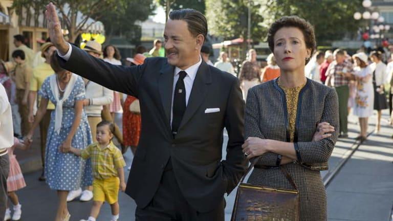 Tom Hanks as Walt Disney and Emma Thompson as P.L. Travers in <i>Saving Mr Banks</i>.