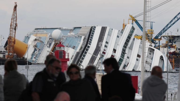 A view of the partially sunk Costa Concordia wreckage next to Italy's Giglio Island.
