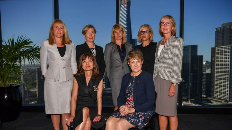 The women in leadership roundtable: (from left, top) Jacqueline Hey, Jane Halton, Kate Vidgen, Janette Kendall, Marie McDonald, (from left, front) Wai Tang and Elizabeth Proust.