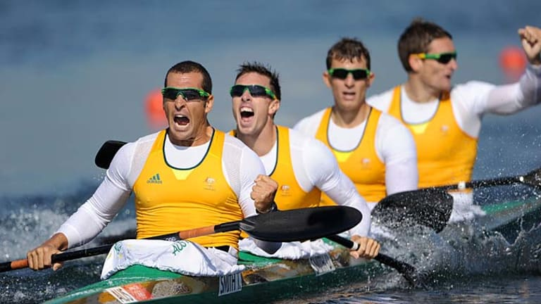 Jubilation ... Tate Smith, Dave Smith, Murray Stewart, and Jacob Clear celebrate their gold medal.