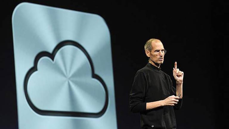 Apple CEO Steve Jobs unveils the iCloud storage system at the Apple Worldwide Developers Conference in San Francisco on June 6.