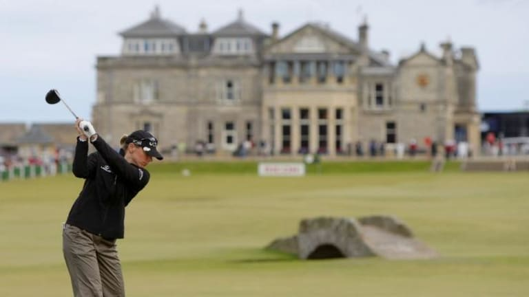 Sweden's Annika Sorenstam tees off from the 18th during a Pro Am event at the Royal and Ancient Golf Club in St Andrews, Scotland in 2007.