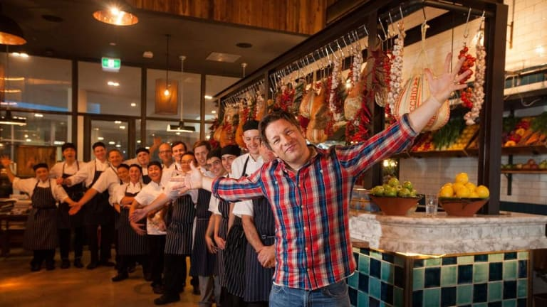 Chef Jamie Oliver visits his Canberra restaurant Jamie's Italian in 2017.