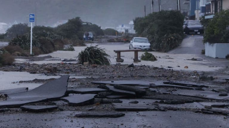 Storm damage to the Esplanade on Wellington's south coast. photo: PHIL REID/Fairfax NZ