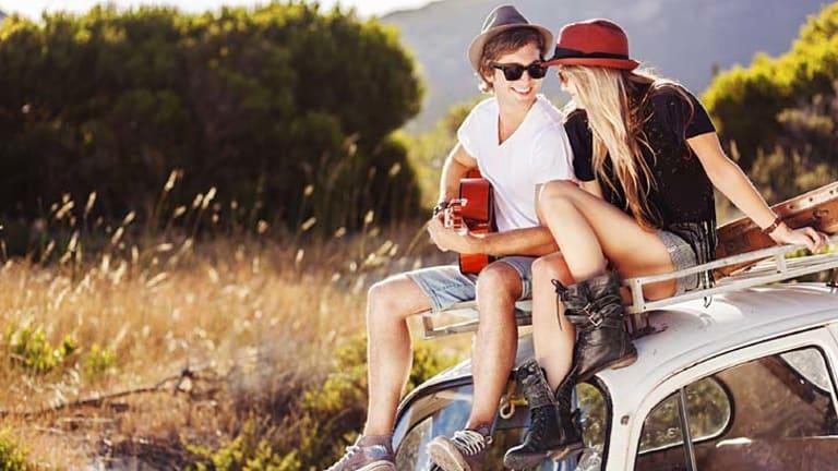 UNWIND. Young Couple enjoying Road Trip iStock Photo File #22718361