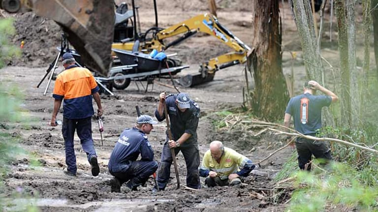 Police searching for missing teenager Pru Bird at Flat Rock Creek, near Cann River, in 2012.