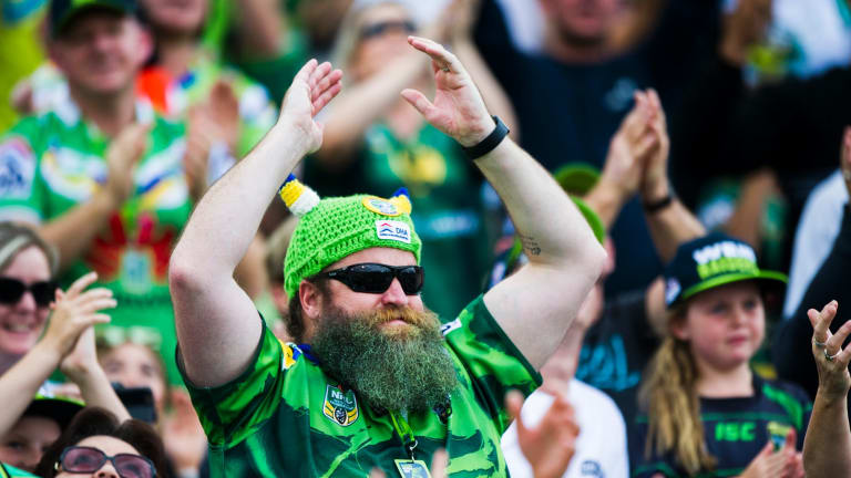 Canberra Raiders v Wests Tigers at Canberra Stadium. Generic Viking Clap raiders fans Crowd GIO