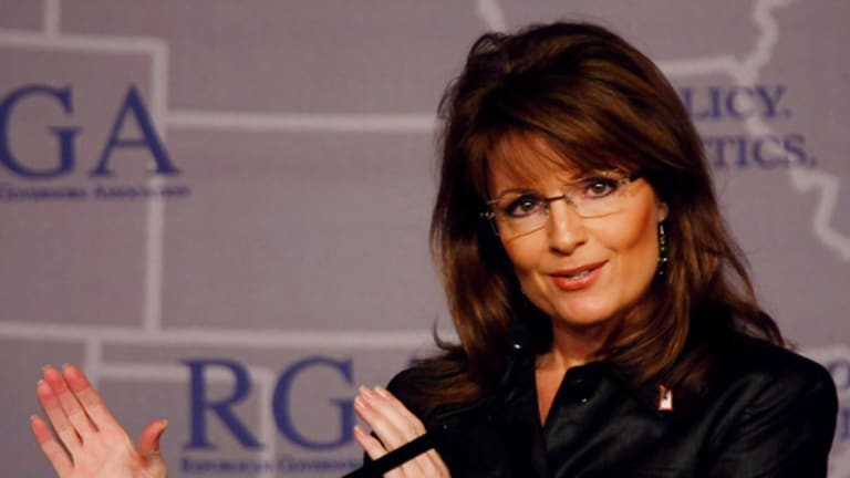 Sarah Palin delivers her speech in Miami.