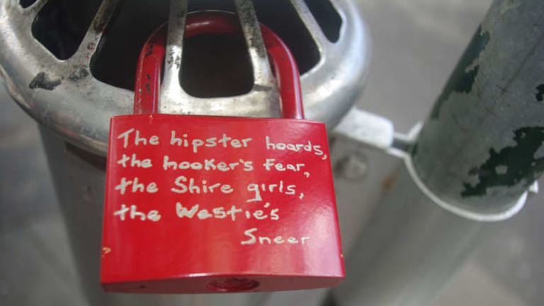 The recently established Canberra International Poetry Studies Institute is Australia's first. One of 13 locks that were scattered across Kings Cross, Sydney, with each lock engraved with one of 13 verses last year.