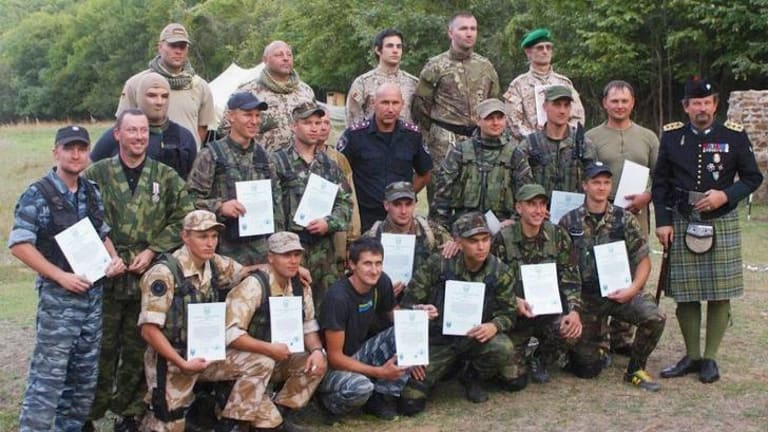 The group at a military training camp in the Ukraine.
