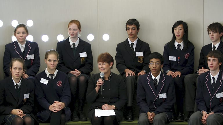 Shaky start: Students from Balwyn High and Glen Waverley Secondary College with Education Minister Bronwyn Pike speak via video link to the Premier, 8000km away at the Shanghai World Expo. Just weeks earlier the system crashed on its trial run.