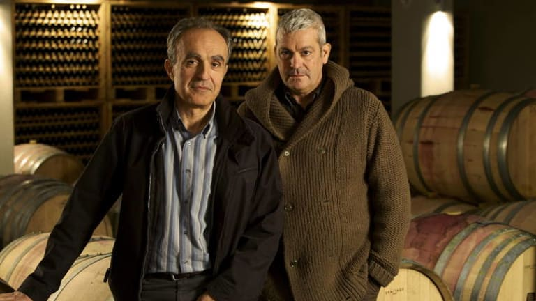 Masters of terroir ... Gaia agriculturalist Leon Karatsalos and winemaker Yiannis Paraskevopoulos.