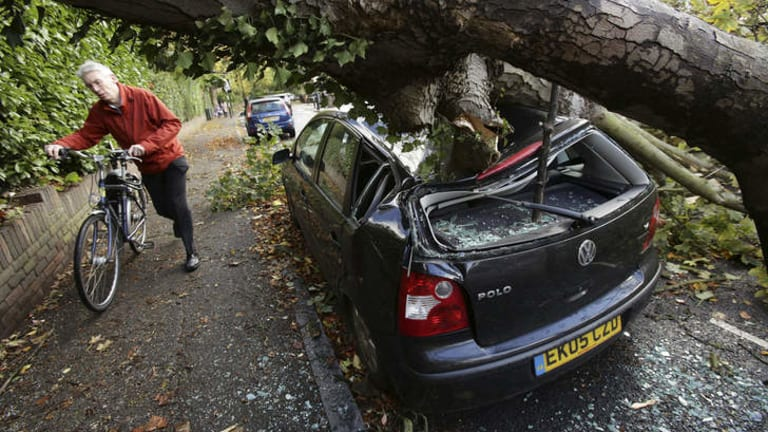 The damage: A car is crushed under a fallen tree as a man pushes a bicycle nearby following a storm, in Hornsey, north London.